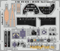EDU-FE678  Photoetched set 1/48 Su-2 interior (self adhesive), for Zvezda kit